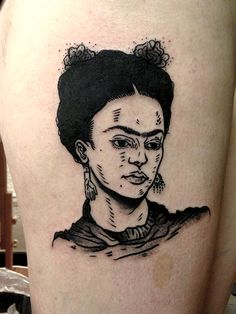 """josewilliamvigerstattoo: """" Frida Kahlo done today at Pech und Schwefel tattoo Berlin email josewilliamvigers@gmail.com back in London on the 13th """""""