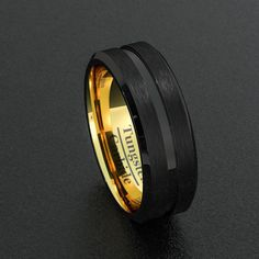 Width: 8mm Fit: Comfort Fit Thickness: 2.3mm Weight: Approximately 12-17g depend on sizes Surface: Brushed Groove Edge: Beveled Color: Black & Gold