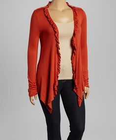 Look at this Paprika Ruffle Trim Open Cardigan - Plus on #zulily today!