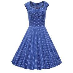 Retro Sweetheart Neck Polka Dot Print Sleeveless Dress For Women
