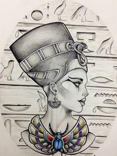 Egyptian Drawings, Egyptian Art, Body Art Tattoos, Tattoo Drawings, Art Drawings, Nefertiti Tattoo, Egyptian Tattoo Sleeve, Anubis Tattoo, African Tattoo