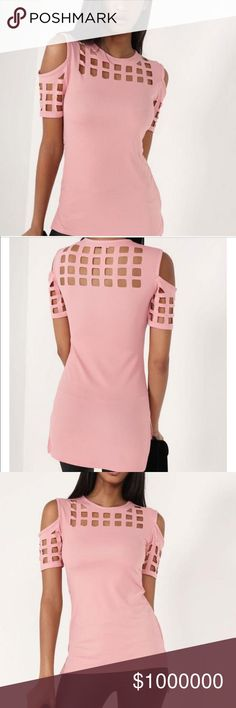 💥NEW💥COLD SHOULDER PINK TOP👚👚👚👚👚👚 👚👚STRIKING PINK SHOULDER TOP WITH CUTOUTS!!👚👚MATERIAL POLYESTER AND ACRYLIC.... FOR THE GIRL THST LIKES SOMETHING A LITTLE DIFFERENT 👚👚 Tops Tees - Short Sleeve