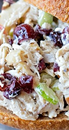Cranberry Pecan Chicken Salad ~ Sweet cranberries, toasted pecans, Dijon mustard and Greek yogurt are the secret ingredients that make this chicken salad a fall favorite!