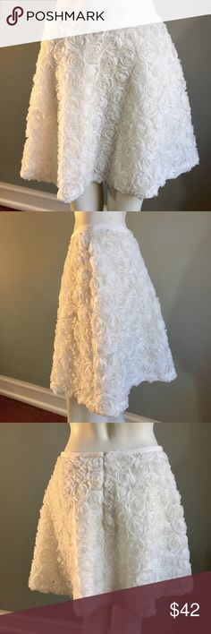 "Club Monaco White Girly Skirt Fluffy and feminine, this skirt is 17"" long. Grosgrain ribbon waist measures 30"". Lined, both skirt and lining 100% polyester. Dry clean. Ridiculously cute. Club Monaco Skirts Mini"