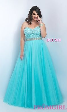 Blue Strapless Ball Gown Style Plus Size Prom Dress by Blush at PromGirl.com