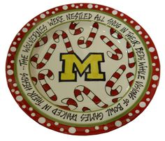 Magnolia Lane Pottery University of Michigan Christmas Plate