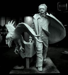 """Boston's New Edgar Allen Poe Statue. This is a clay model of the final design for the life-size statue of Edgar Allen Poe at the corner of Boylston Street and Charles Street South in Boston, which is also named """"Edgar Allan Poe Square. Edgar Allan Poe, Quoth The Raven, Life Size Statues, Allen Poe, Art Sculpture, Bronze Sculpture, Rabe, Pop Punk, Macabre"""