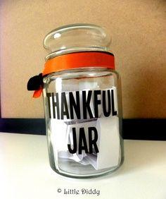 Thankful Jar vinyl decal — vinyl, thanksgiving decor, diy, thankful, gratitude. $5.25, via Etsy. | best stuff
