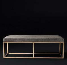 RH Modern's Alton Leather Bench:Rich leather paired with an openwork metal frame lends our handcrafted bench a classic midcentury look. Its clean-lined profile is complemented by an inviting high-crowned padded seat.