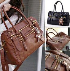 Leather Handbag with Bear Charm | Pyrefly