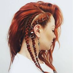 Incredibly Amazing Hair piercings: a simple and nice idea to make your hairstyles . Side Braid Hairstyles, Wedding Hairstyles, Cool Hairstyles, Viking Hairstyles, Updo Hairstyle, Piercings, Lagertha Hair, Viking Braids, Wedding Braids