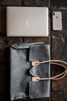 Navy leather bossbag, leather bag for work