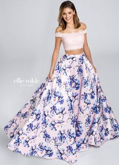 Ellie Wilde EW117068 - Two-piece lace and exclusive print Mikado dress set, off-the-shoulder scalloped lace cropped top with heat-set stones, high waist printed full A-line skirt with side pockets.    Sister dress to styles EW117067, EW117069 and EW117070.