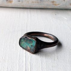 copper ring with opal