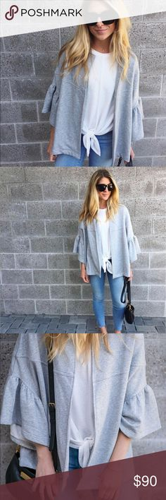 Anthropologie Grey bell sleeve jacket (Evelyn K) Anthropologie Grey bell sleeve jacket (Evelyn K) - Work once and great for brunch! Anthropologie Jackets & Coats Capes