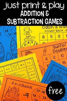 Addition & Subtraction Games - Primary Flourish Spark your students' interest with new math games! These games are great practice to increase math fact fluency! and they are free! 2nd Grade Classroom, Math Classroom, Math Tutor, Teaching Math, Teaching Time, Subtraction Games, Multiplication Games, Math Fractions, Math Fact Fluency