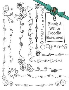 frames and borders **Enjoy these 6 black and white doodle borders for your lesson materials and TpT products! All images are in png formats so they can easily be layered in your pr Black And White Doodle, Black And White Drawing, Creative Lettering, Hand Lettering, Watercolor Unicorn, Hand Drawn Border, Page Borders Design, Border Design, Doodle Frames