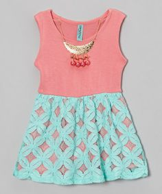 Another great find on #zulily! Coral & Teal Lace Dress & Necklace - Toddler & Girls #zulilyfinds