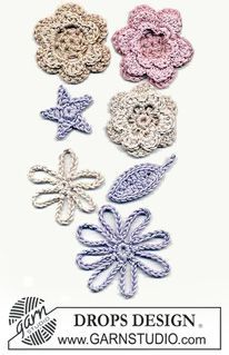 Various different crocheted DROPS flowers ~ DROPS Design