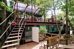 A renovated bus, a house boat and penthouse flats overlooking the Old Town are among the coolest Airbnb places to rent in Stockholm, Sweden. Welcome to Sweden. Bus House, Tiny House, Cabana, Converted Bus, Places To Rent, Rooftop Deck, Rooftop Garden, Backyard Decks, Interior Exterior