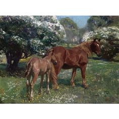 Mare and Foal in a Spring Meadow By Sir Alfred James Munnings