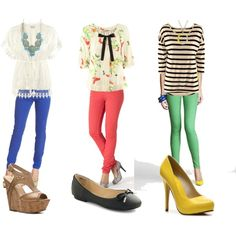 Styling Colored Jeans, created by chiconthecheap on Polyvore