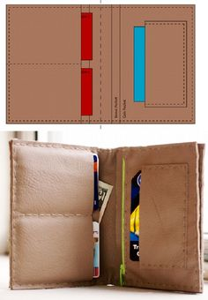 "Leather Wallet Pattern. ""Fold In Wallet"" by howdidyoumakethis.com  ""How To Make Wonderful Wallets"""