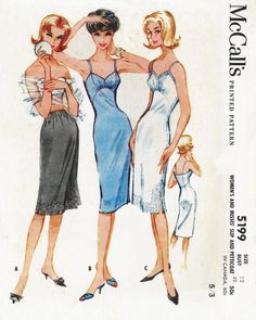 McCall's 5199 (©1959). Petticoat and 1/2 slip. Vintage sewing pattern from personal collection.