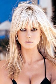 35 Ideas For Hair Cuts Flequillo Blondes Hairstyles With Bangs, Pretty Hairstyles, Straight Hairstyles, Long Haircuts, Short Haircut, Easy Hairstyles, Blonde Bangs, Blonde Hair, Heidi Klum Hair