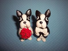 Large 3 inch Boston Terrier Wedding Cake Toppers by thepinkkoala, $55.00