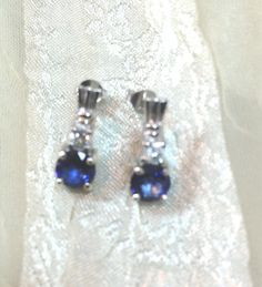 Midnight Blue Sapphire Earrings in Sterling by NorthCoastCottage