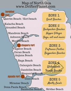 A detailed guide to the beaches of North Goa - from Keri beach at Terekhol Fort. It has info about 18 beaches in North Goa from Keri beach to Siridao beach. Goa Travel, India Travel Guide, Travel And Tourism, Beach Travel, Paris Travel, Goa India, India Trip, South India, India