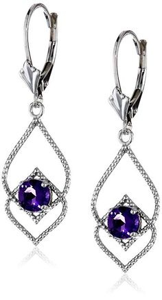 b7a2d7c87c02 Amethyst Delicate Fashion Leverback Dangle Earrings in Sterling Silver