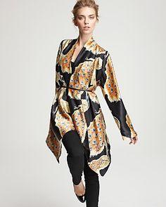 """Winter Kate """"Jasmine"""" Silk Peacock Print Cardigan PRICE: $285.00"""