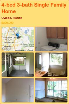 4-bed 3-bath Single Family Home in Oviedo, Florida ►$220,000 #PropertyForSale #RealEstate #Florida http://florida-magic.com/properties/12167-single-family-home-for-sale-in-oviedo-florida-with-4-bedroom-3-bathroom
