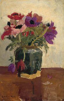 George Hendrik Breitner Stillevens-Gemberpot met anemonen - Rijksmuseum
