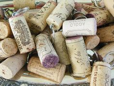 Recycled Repurposed Wine Cork Keychains / Wine by RobinsInTheAttic