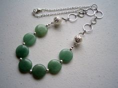 Green Adventurine Necklace / Flat Disc Stone / Silver by FOLIOSA, $22.00