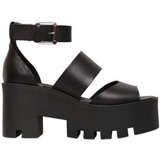 WINDSOR SMITH 80mm Leather Wedge Sandals ($166) ❤ liked on Polyvore featuring shoes, sandals, heels, black, black wedge shoes, platform sandals, black heeled sandals, wedge sandals and heeled sandals