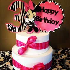 Minnie Mouse Cake Topper Pink and Zebra 3 by PurpleZebraPaperCo, $12.00