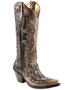 Corral Distressed Studded Overlay Cowgirl Boots - Snip Toe