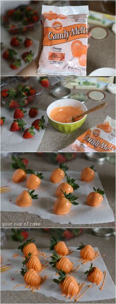 Chocolate covered strawberries turned into carrots for the Easter Bunny! Easter Cup Cakes Ideas, Cute Easter Desserts, Easter Basket Ideas, Easter Cake Easy, Easy Easter Recipes, Easter Bunny Cupcakes, Easter Dinner Recipes, Easter Food, Easter Brunch