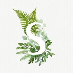 Floral letter S. Beautiful green leaves and branches painted with watercolor. Watercolor eucalyptus and fern foliage letter. Green watercolor monogram • Also buy this artwork on wall prints, apparel, stickers, and more.