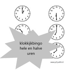 Klokkijkbingo - hele en halve uren - Juf Judith