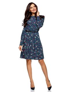 oodji Collection Women's Belted Viscose Dress: Amazon.co.uk: Clothing Blue Dresses, Dresses For Work, Viscose Dress, Belts For Women, Outfit Sets, Collection, How To Wear, Clothes, Beauty