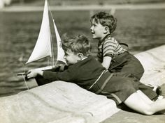 Young Boys Sailing Model Boats Photographic Print by George Marks at Art.com