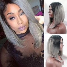 (45.00$)  Watch more here - http://aifa9.worlditems.win/all/product.php?id=32691299448 - Silk straight ombre silver grey synthetic wigs 12-16 inch short hair bob synthetic lace front wig black to grey ombre woman wig