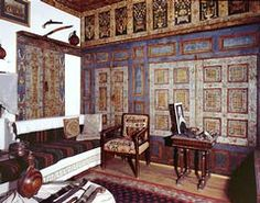 Richly decorated wooden panelling from the 'bas-ondas' in the G.Sakellariou mansion,late century,Kozani,Historical and Folklore Museum.