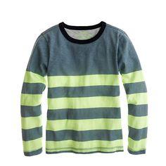 Boys' long-sleeve ringer tee in citron stripe