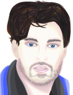 man illustration using gaussian blur